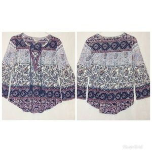 Lucky Brand Boho Lace Up Floral Tassel Blouse